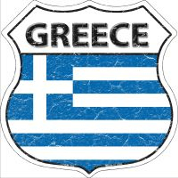 Greece Flag Highway Shield Novelty Metal Magnet