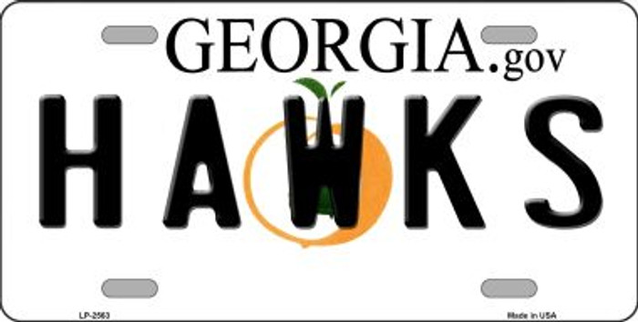 Hawks Georgia Novelty State Background Wholesale Metal License Plate LP-2563