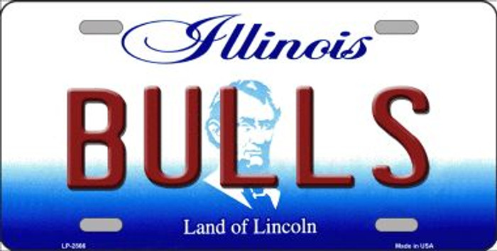 Bulls Illinois Novelty State Background Wholesale Metal License Plate LP-2566