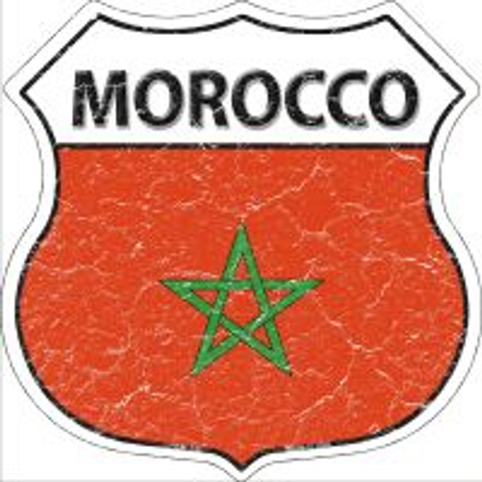 Morocco Flag Highway Shield Novelty Metal Magnet