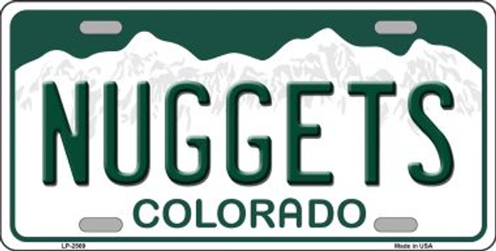 Nuggets Colorado Novelty State Background Wholesale Metal License Plate LP-2569