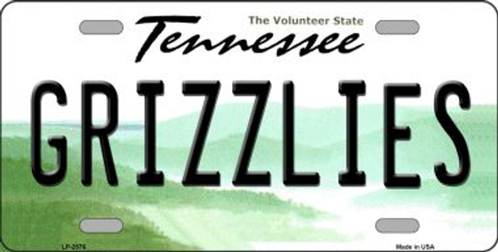 Grizzlies Tennessee Novelty State Background Wholesale Metal License Plate LP-2576