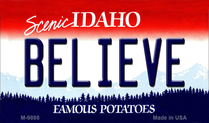 Believe Idaho State Background Wholesale Metal Novelty Magnet