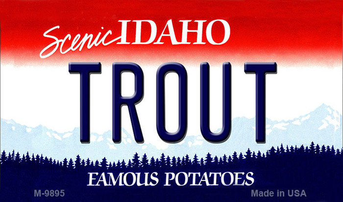 Trout Idaho State Background Wholesale Metal Novelty Magnet