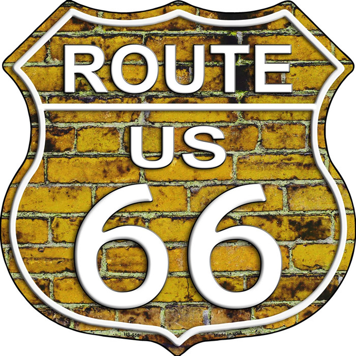 Route 66 Yellow Brick Wall Wholesale Metal Novelty Highway Shield