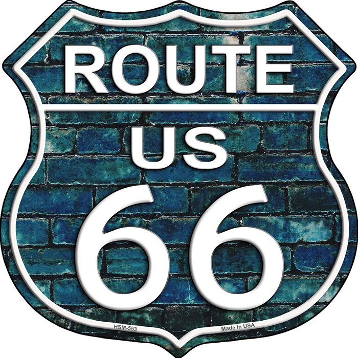 Route 66 Blue Brick Wall Wholesale Highway Shield Novelty Metal Magnet