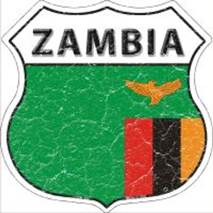 Zambia Flag Highway Shield Novelty Metal Magnet