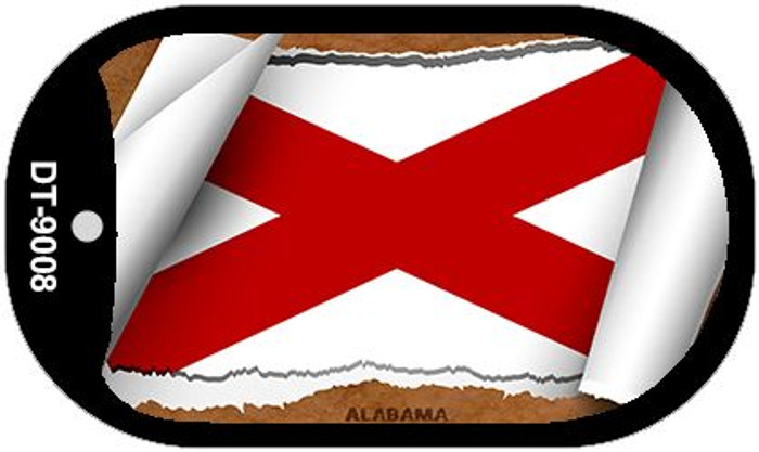 "Alabama State Flag Scroll Dog Tag Kit 2"" Wholesale Metal Novelty Necklace"