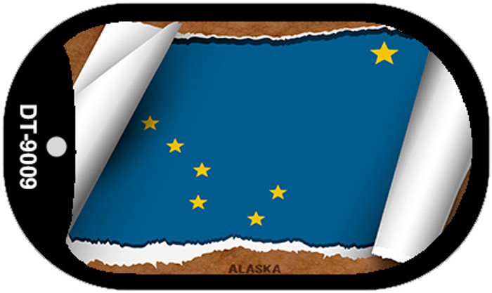 Alaska State Flag Scroll Dog Tag Kit Wholesale Metal Novelty Necklace DT-9009