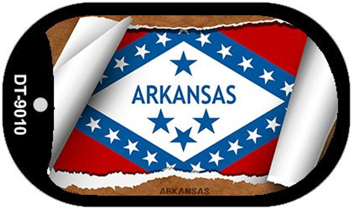 "Arkansas State Flag Scroll Dog Tag Kit 2"" Wholesale Metal Novelty Necklace"