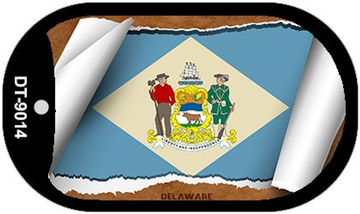"Delaware State Flag Scroll Dog Tag Kit 2"" Wholesale Metal Novelty Necklace"