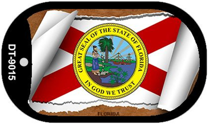 "Florida State Flag Scroll Dog Tag Kit 2"" Wholesale Metal Novelty Necklace"