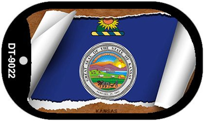 "Kansas State Flag Scroll Dog Tag Kit 2"" Wholesale Metal Novelty Necklace"