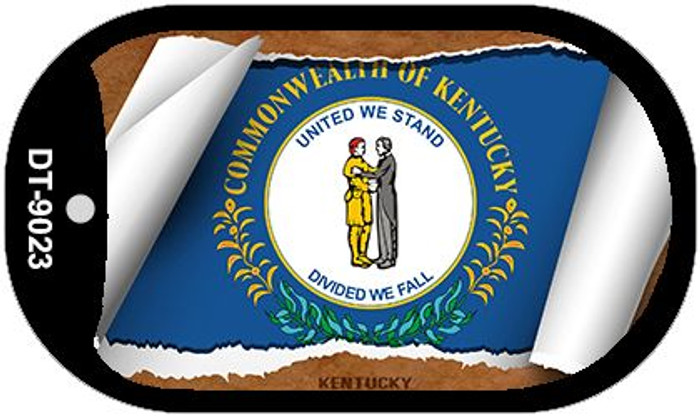 "Kentucky State Flag Scroll Dog Tag Kit 2"" Wholesale Metal Novelty Necklace"