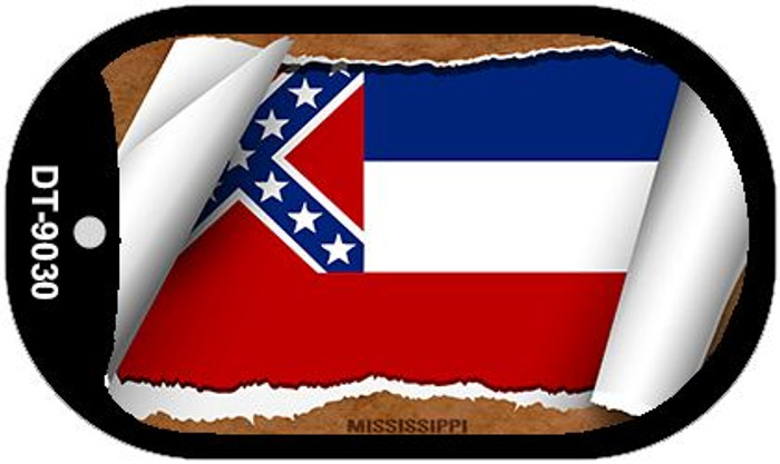 "Mississippi State Flag Scroll Dog Tag Kit 2"" Wholesale Metal Novelty Necklace"
