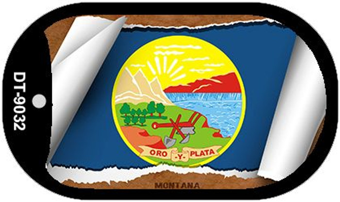 "Montana State Flag Scroll Dog Tag Kit 2"" Wholesale Metal Novelty Necklace"