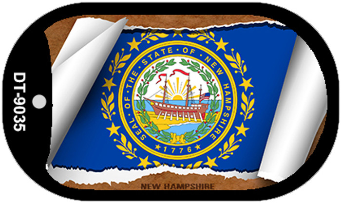 "New Hampshire State Flag Scroll Dog Tag Kit Wholesale Metal Novelty 2"" Necklace"