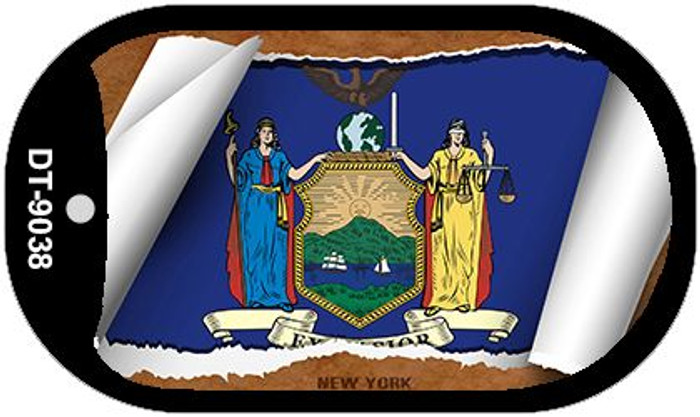 "New York State Flag Scroll Dog Tag Kit 2"" Wholesale Metal Novelty Necklace"