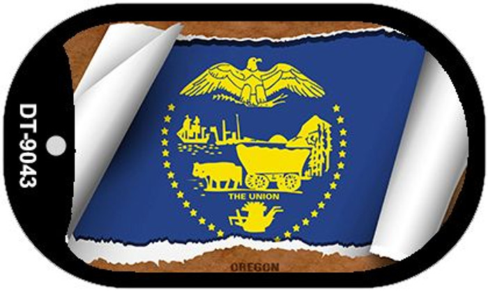 "Oregon State Flag Scroll Dog Tag Kit 2"" Wholesale Metal Novelty Necklace"