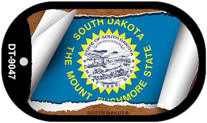 "South Dakota State Flag Scroll Dog Tag Kit 2"" Wholesale Metal Novelty Necklace"