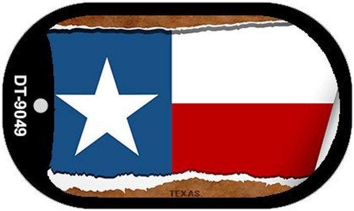 "Texas State Flag Scroll Dog Tag Kit 2"" Wholesale Metal Novelty Necklace"