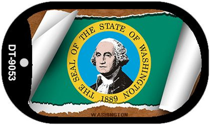 "Washington State Flag Scroll Dog Tag Kit 2"" Wholesale Metal Novelty Necklace"