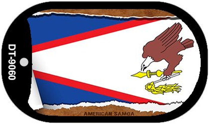 "American Samoa Country Flag Scroll Dog Tag Kit 2"" Wholesale Metal Novelty Necklace"