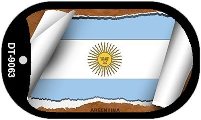 "Argentina Country Flag Scroll Dog Tag Kit 2"" Wholesale Metal Novelty Necklace"