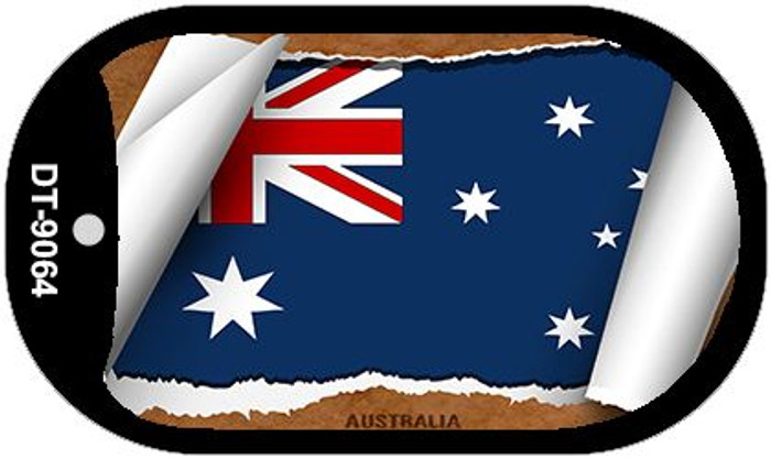 "Australia Country Flag Scroll Dog Tag Kit 2"" Wholesale Metal Novelty Necklace"