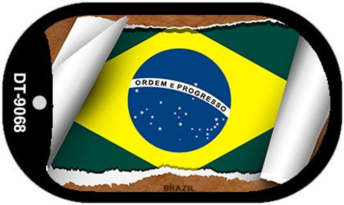 "Brazil Country Flag Scroll Dog Tag Kit 2"" Wholesale Metal Novelty Necklace"