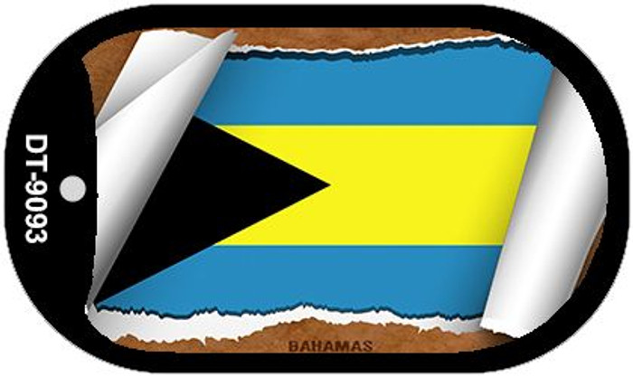 "Bahamas Country Flag Scroll Dog Tag Kit 2"" Wholesale Metal Novelty Necklace"