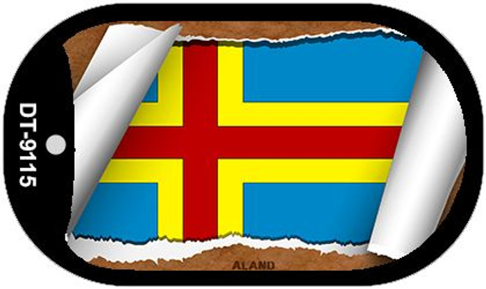 "Aland Country Flag Scroll Dog Tag Kit 2"" Wholesale Metal Novelty Necklace"