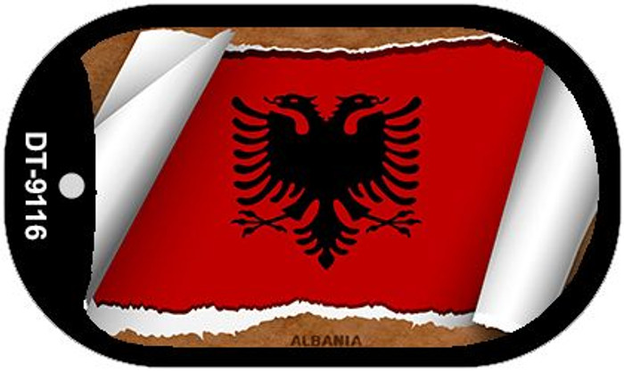 "Albania Country Flag Scroll Dog Tag Kit 2"" Wholesale Metal Novelty Necklace"