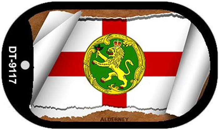 "Alderney Country Flag Scroll Dog Tag Kit 2"" Wholesale Metal Novelty Necklace"