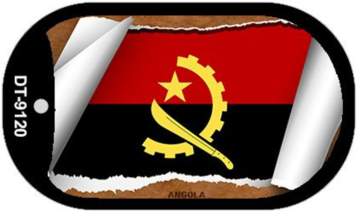 "Angola Country Flag Scroll Dog Tag Kit 2"" Wholesale Metal Novelty Necklace"