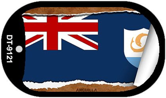"Anguilla Country Flag Scroll Dog Tag Kit 2"" Wholesale Metal Novelty Necklace"