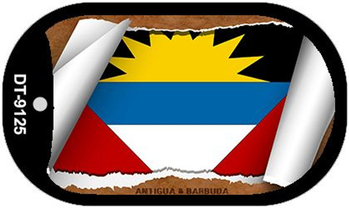 "Antigua|Barbuda Country Flag Scroll Dog Tag Kit 2"" Wholesale Metal Novelty Necklace"