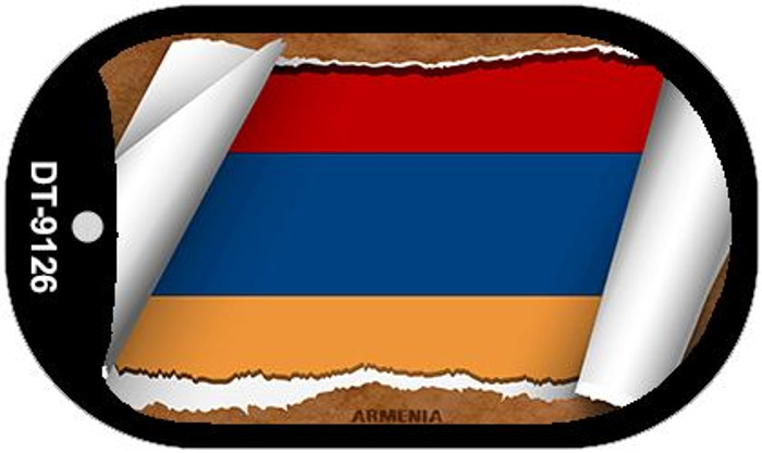 "Armenia Country Flag Scroll Dog Tag Kit 2"" Wholesale Metal Novelty Necklace"