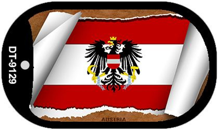 "Austria Country Flag Scroll Dog Tag Kit 2"" Wholesale Metal Novelty Necklace"