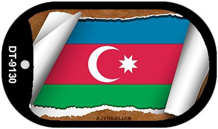 "Azerbaijan Country Flag Scroll Dog Tag Kit 2"" Wholesale Metal Novelty Necklace"