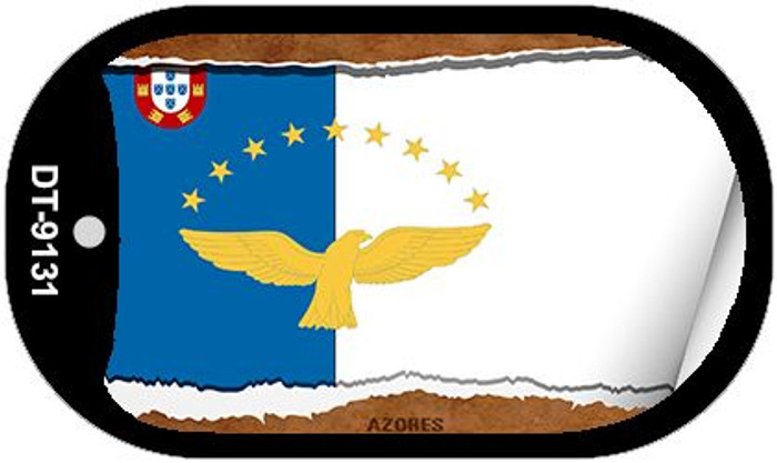 "Azores Country Flag Scroll Dog Tag Kit 2"" Wholesale Metal Novelty Necklace"