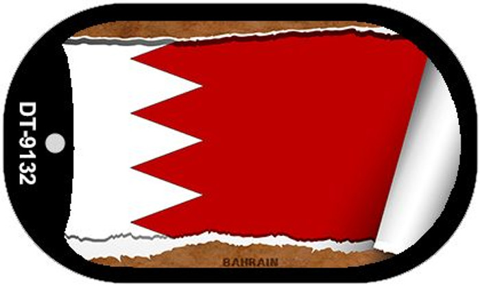 "Bahrain Country Flag Scroll Dog Tag Kit 2"" Wholesale Metal Novelty Necklace"