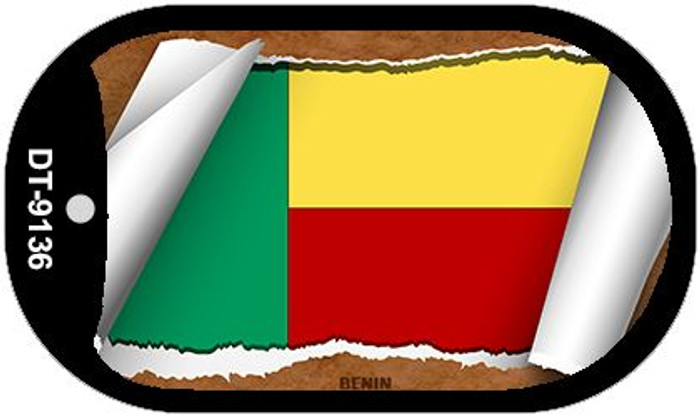 "Benin Country Flag Scroll Dog Tag Kit 2"" Wholesale Metal Novelty Necklace"