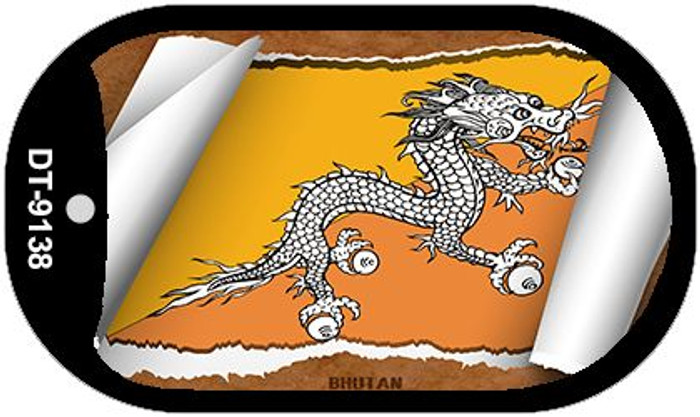 "Bhutan Country Flag Scroll Dog Tag Kit 2"" Wholesale Metal Novelty Necklace"
