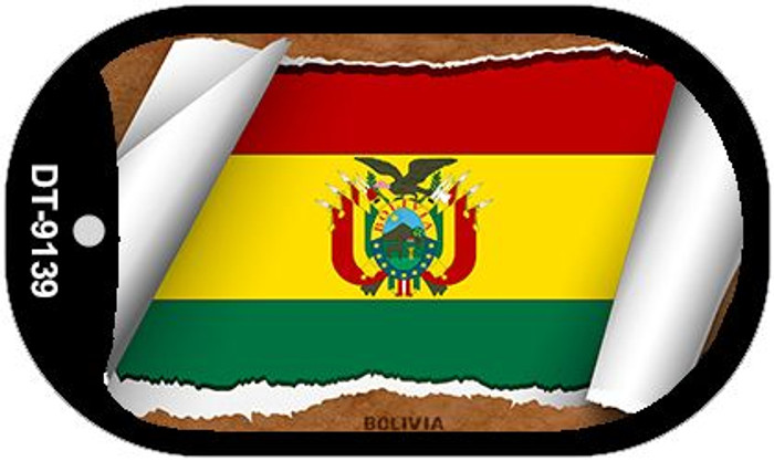 "Bolivia Country Flag Scroll Dog Tag Kit 2"" Wholesale Metal Novelty Necklace"