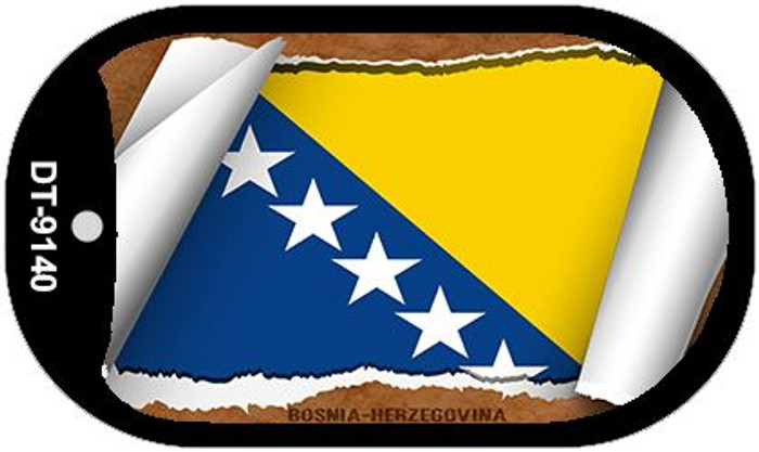 "Bosnia-Herzegovina Country Flag Scroll Dog Tag Kit 2"" Wholesale Metal Novelty Necklace"