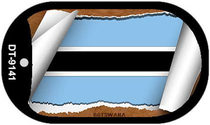 "Botswana Country Flag Scroll Dog Tag Kit 2"" Wholesale Metal Novelty Necklace"