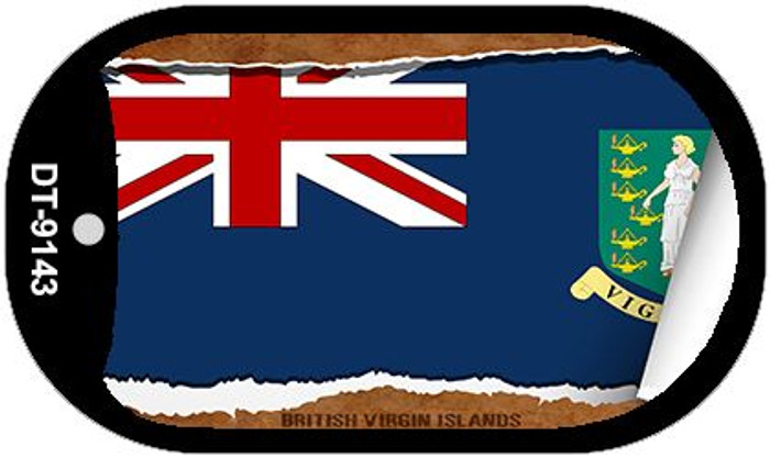 "British Virgin Island Country Flag Scroll Dog Tag Kit 2"" Wholesale Metal Novelty Necklace"
