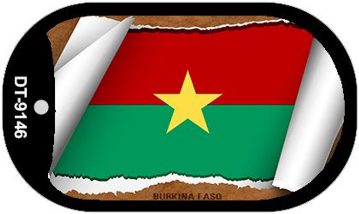"Burkina Faso Country Flag Scroll Dog Tag Kit 2"" Wholesale Metal Novelty Necklace"