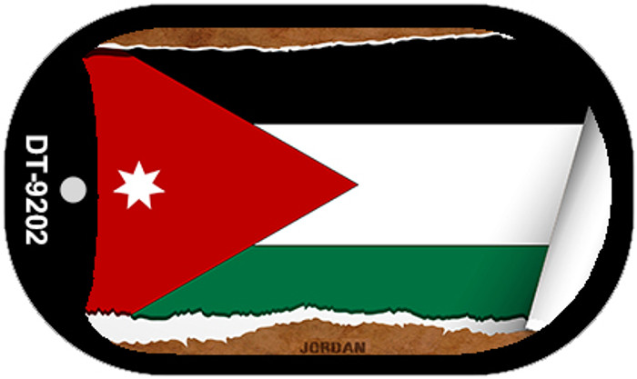 "Jordan Flag Country Flag Scroll Dog Tag Kit 2"" Wholesale Metal Novelty Necklace"
